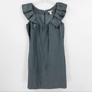 J.Crew Women's 4 Gray Ruffle Collar Sheath Dress